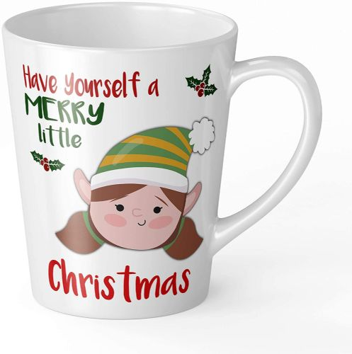 Merry Little Christmas Girl Elf Novelty Gift Latte Mug